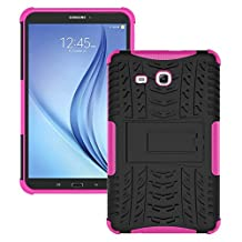 Galaxy Tab E 9.6 Case, Galaxy Tab E 9.6 Cover, Dual Layer Protection Shock Absorption Hybrid Rugged Case Hard Shell Cover with Kickstand for Samsung Galaxy Tab E 9.6 [SM-T560/T561] (Hot Pink)