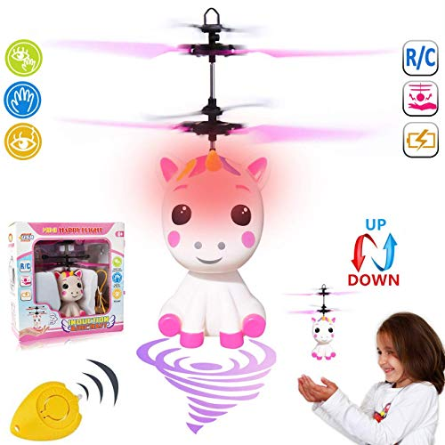 GreaSmart Unicorn Flying Ball RC Toy for Kid Girls,Inductive Flying Toys Drone Helicopter with Remote & Hand Controlled Rechargeable Flash Light Indoor Outdoor Light Up Toy Party Favors Supplies ()