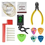 Acoustic Guitar Tool,Kit for Starter with Guitar Strings Winder Cutter Tuner Bridge Pins Picks & Pick Holder,Everything Set for Change the String-ordinary