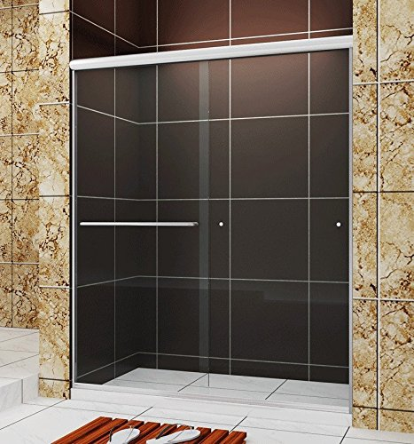 SUNNY SHOWER B020, Frameless Bypass Sliding Shower Doors, 56'' - 60'' x 72'', 1/4'' Clear Glass, Chrome Finish by SUNNY SHOWER