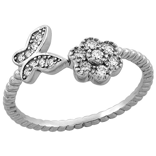 Sterling Silver Cubic Zirconia Dainty Flower & Butterfly Ring Micro Pave 3/8 inch Long, size 9 ()
