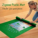 Jigsaw Puzzle Saver Roll Up Play Mat Storage Felt Mat Green Roll-Up for 300 - 3000 pieces,1M × 2M