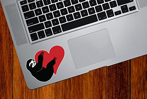 Sloth Hugging Heart - Vinyl Macbook Laptop Trackpad Decal Sticker Yydc (Sm 2.75&Quot;W X 2&Quot;H) (Color Choices) (Pink) -