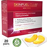 24K gold collagen eye mask by SkinFuel.Club - Eye Mask for puffy eyes and dark circles | Anti aging & anti wrinkle eye patches | Undereye bags treatment & Hydrating pads for Men & Women (20 Pairs)