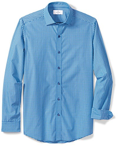 BUTTONED DOWN Men's Fitted Supima Cotton Spread-Collar Dress Casual Shirt, Teal/Navy Small Gingham, L 34/35