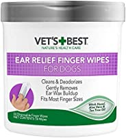 Vet's Best Ear Relief Finger Wipes   Ear Cleansing Finger Wipes for Dogs   Sooths & Deodorizes   50 Di