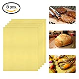 Grill Mat, Non-stick Grill Mats for Barbecue, BBQ Grill Mats For Gas, Charcoal and Electric Grills Easy to Clean, Reusable and Nonstick, Set of 5
