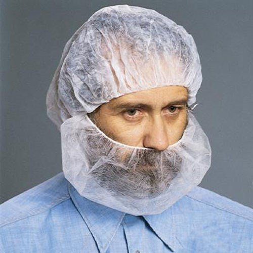 112NWI Polypropylene Beard Cover, White, 100/Bag