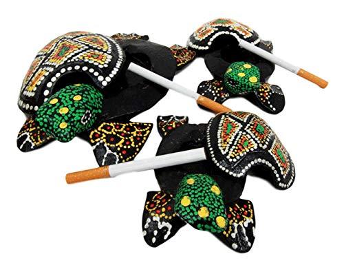 Ky & Co YK Balinese Wood Handicrafts Green Turtle Family Ashtray Shell Box Figurine Set