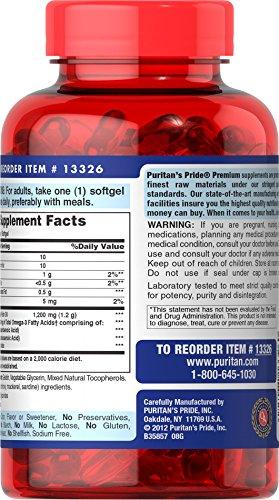 025077133260 - Puritan's Pride Nutritional Softgels, Omega-3 Fish Oil, 1200 mg, 100 Count carousel main 1