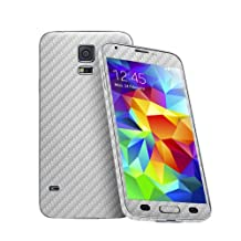Cruzerlite Carbon Fiber Skin for The Samsung Galaxy S5, Retail Packaging, Silver (Full Kit