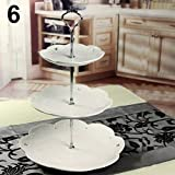 WskLinft 3 Tier Hardware Crown Cake Plate Stand Handle Fitting Wedding Party Table Decor - Silver