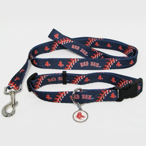 Boston Red Sox Pet Set Dog Leash Collar ID Tag LARGE
