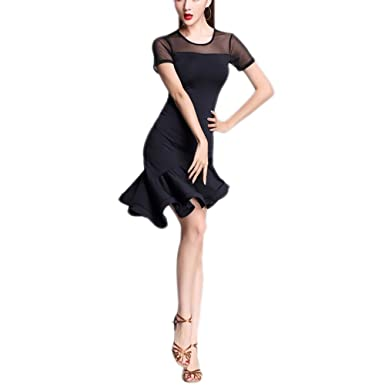 898b3eb5fad5 Short Simple Ruffled Graduated Hemline Latin Rhythm Tango Salsa Dance  Dresses Black