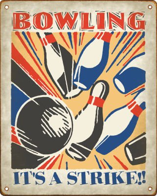 Bowling - It's a Strike! - Retro Sign / Wall Decor Plaque