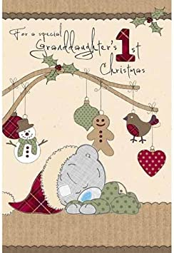 Daughters 1st Christmas Me to You Bear Adorable Girl First Xmas Greeting Card