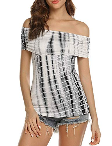 Women Tie Dye Striped Shirts Off Shoulder Sexy Tops Stretch Fitted Blouses Plus Size (Black, L)