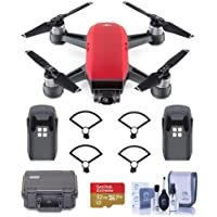 DJI Spark Mini Drone - Lava Red - Bundle With Go Professional Cases Fly More Case, Intelligent Flight Battery Propeller Guard, 32GB MicroSDHC U3 Card, Cleaning KIt