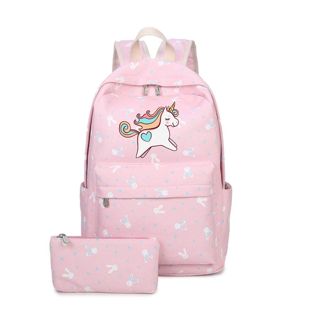 TF UL 40X28X14CM Anime Backpack with Unicorn Cartoon Canvas Bag for Teenage Girl