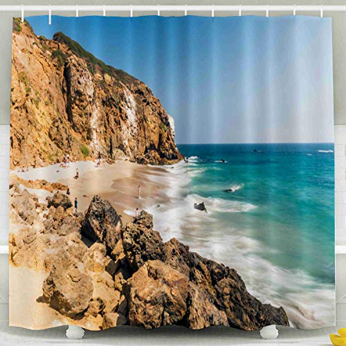 (Shorping 78x72 Shower Curtain,Clear Shower Curtain, Cove Beach Emerald Blue Water in Quite Paradise Beach Surrounded by Cliffs California Ca USA Malibu Zuma Waterproof Decor Bathroom Set with Hooks)
