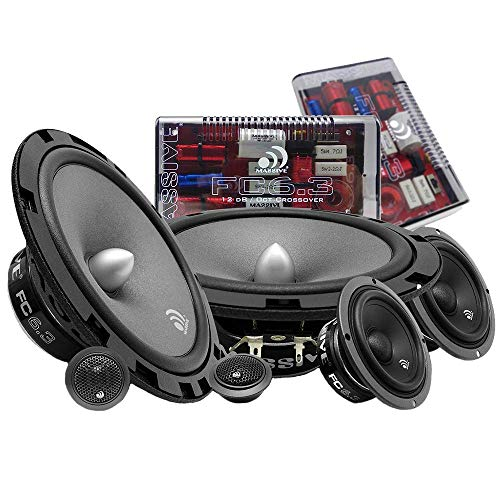 - Massive Audio FC6.3 - 6 Inch / 6.5 Inch 3-Way, 150w/300 Watts Max, 6.5 Inch Mid-Bass, 3 Inch Mid-Range, 25mm Tweeter, 4 Ohm, 12db X-Over, Component Kit Speakers, Pair