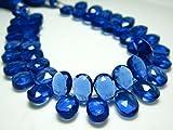 1/2 Strand- Sapphire Blue Quartz Glass Faceted Pear Briolettes -Stones Measure- 7x10mm