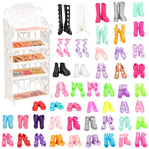 BARWA 50 Pairs Barbi Shoes 1pcs Shoes Shelf Rack Accessories Different High Heel Boots Accessories for 11.5 Inch Girl Doll Playset Closet