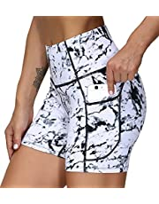 THE GYM PEOPLE High Waist Yoga Shorts for Women'sTummy Control Fitness Athletic Workout Running Shorts with Deep Pockets