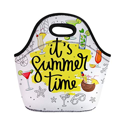 (Tinmun Lunch Tote Bag It Summertime Surrounded From Cocktails and Summer Trend Pina Reusable Neoprene Bags Insulated Thermal Picnic Handbag for Women Men)