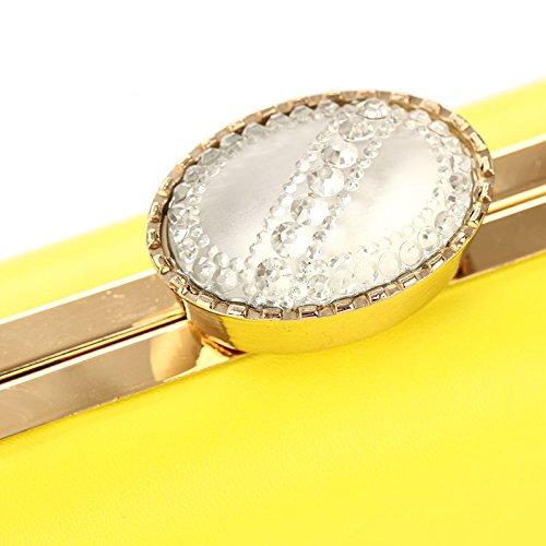 Rhinestone Mini Wedding Prom Leather Bag Color Clutch Fuchsia Women's PU Top Big Hardbox Bright Purse g4n4qva