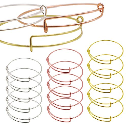 15PCS Expandable Bangle Bracelet, Adjustable Wire Silver Bangle Bracelet Bulk Chain for Jewelry Making,Great Gift for Parents or Friends on Thanksgiving Day and Christmas (Silver, Gold and Rose Gold)
