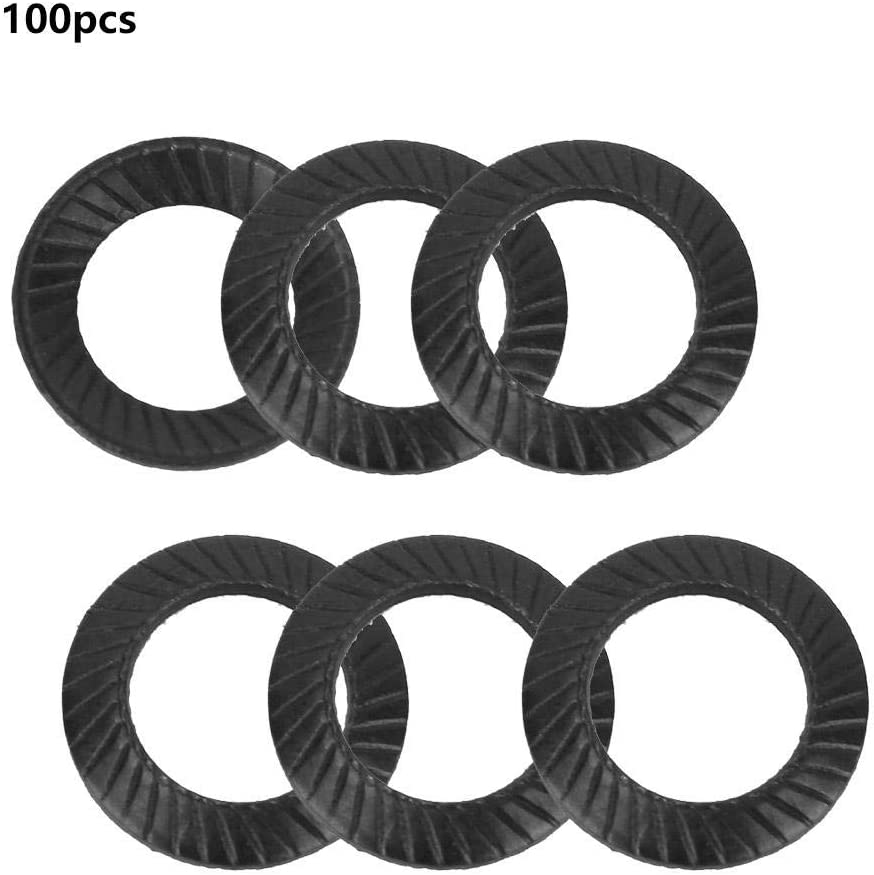 100pcs Flat Washer Assortment Set Spacers Washers M4 Steel Ribbed Lock Washer Anti-Skid Gaskets with Double-Sided Ridges