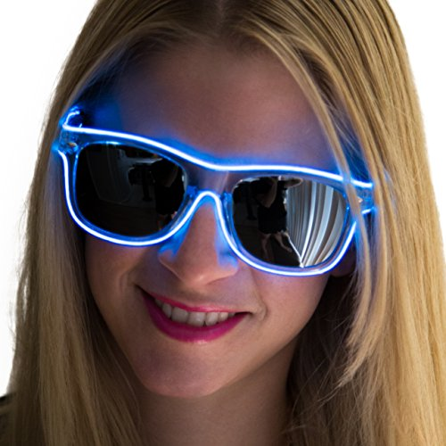 Neon Nightlife Blue Frame/Slightly Tinted Lens Wayfarer 55mm Light Up Glasses