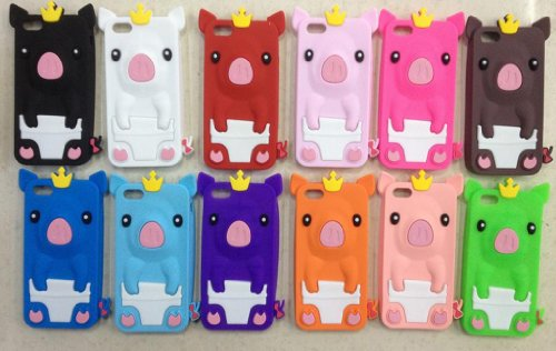 Light Pink Cute Pig Animal Soft Silicone Jelly Skin Case Cover for Apple iPhone 5C