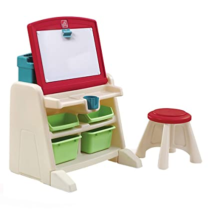 amazon com step2 flip and doodle desk with stool easel toys games