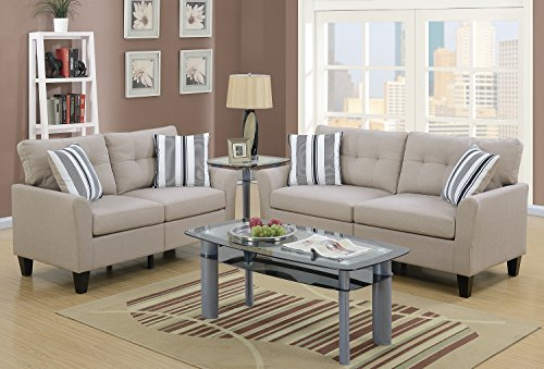 2-Piece Sofa and Loveseat Set, Cotton Blended Fabric, Sturdy and Durable Construction, Tight Seat, Tufted Back, Four Accent Pillows, Inner Spring for Durability, Off-White + Expert Guide