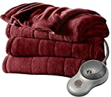 Heated Blanket Sunbeam Microplush Heated Blanket Ultra Soft Imperial Plush QUEEN Red Velvet