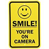 """SmartSign Aluminum Sign, Legend """"Smile! You're on Camera"""" with Graphic, 18"""" High X 12"""" Wide, Black on Yellow"""