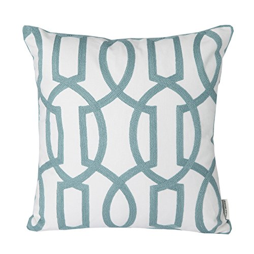 Mika Home Cotton Embroidery Geometric Links Accent Decorative Throw Pillow Cover Sofa Cushion Case for 18X18