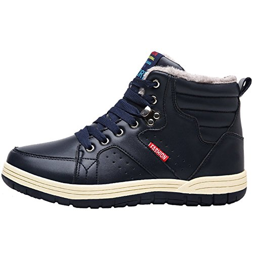 JIONS Mens Leather Winter Snow Boots Waterproof Lace Up Ankle Sneakers Warm Outdoor Booties Shoes With Fur Lining B Blue EK4QusGY