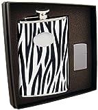 Visol Zebra Flask and Zippo Lighter Gift Set, 8-Ounce