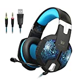 Jeecoo JC-G1000 Stereo Over-ear Gaming Headset with 7 Colors Breathing LED Light and Microphone - Blue