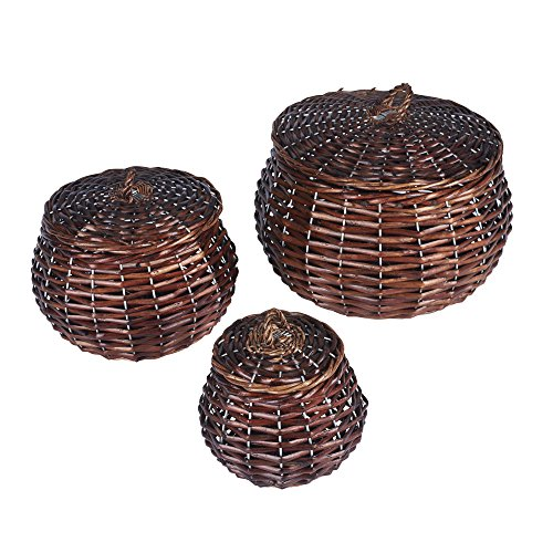 Household Essentials ML-2229 3 Piece Set Round Willow Wicker Decorative Storage Baskets, Dark Brown (Wicker Round Coffee Table)