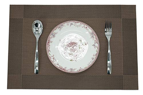 F&H Designer Placemats - Elegant Design, Extremely Durable, Wipes Clean, Stain and Heat Resistant, Non-Slip - Set of 6 (18