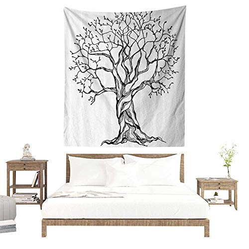alisoso Tapestry,Tree of Life Decor Collection,Aged Winter Tree with Curved Body and Branches Old Expanding Roots Illustration,White W47 x L47 inch Apartment Decor Collection -