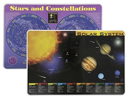 Painless Learning 2 Wipe Off Placemats Bundle- Solar System Placemat and Constellations Placemat ()