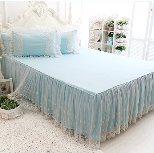 Brandream Romantic Girls White Lace Bed Skirt Fancy Blue Bed Skirts Korean Princess Style Sheets Set Pillow Case by Brandream