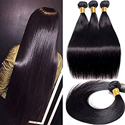 Maxine Straight Human Hair Extension Brazilian Hair 3 Bundles Unprocessed Remy Human Hair Straight Hair Natural Black Silky and Smooth Hair Weft(18 18 18)