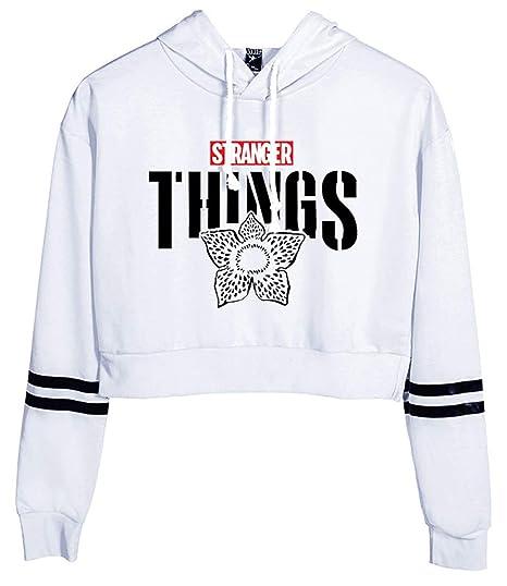 HUASON Femme Stranger Things Sweat à Capuche Personnalité de la Mode Pull  Sweats Confortable Court Paragraphe Sweat,Shirts