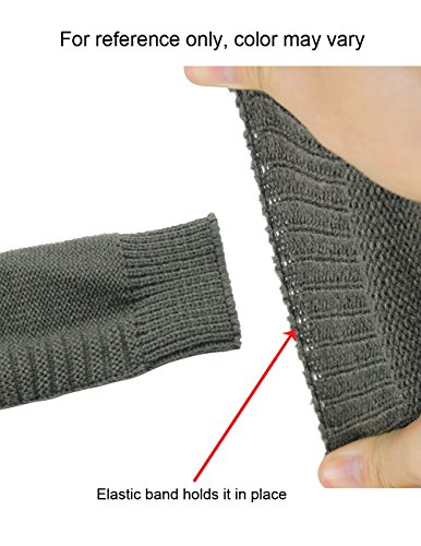 Women's Faceted Button Acrylic Knit Fingerless Arm Warmer Gloves - Black